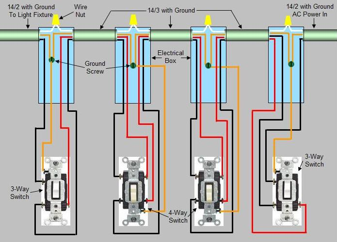 4 way switch diagram multiple lights